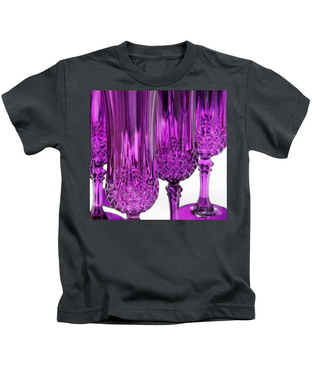 Purple Kids T-Shirt featuring the photograph Purple Stemware by Lainie Wrightson