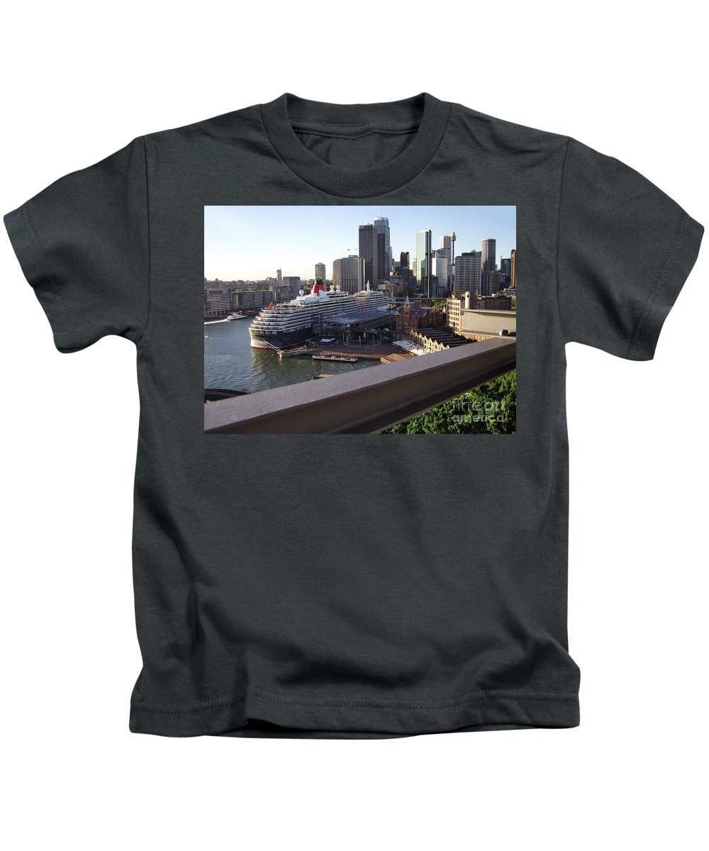 Photography Kids T-Shirt featuring the photograph Queen Victoria Berthed In Sydney by Kaye Menner
