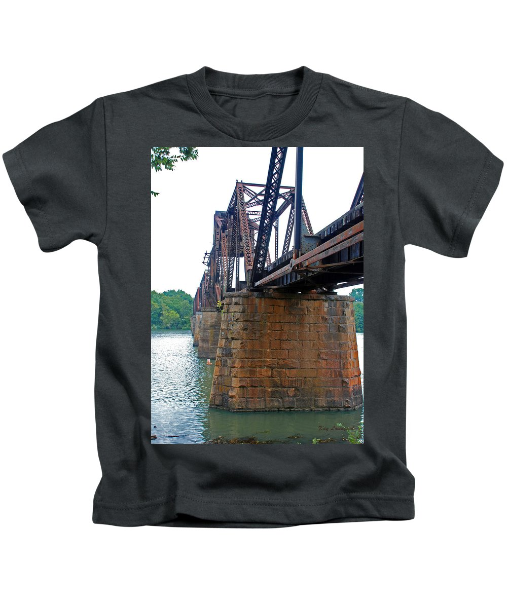 Water Kids T-Shirt featuring the photograph Railroad Bridge 2 by Kay Lovingood