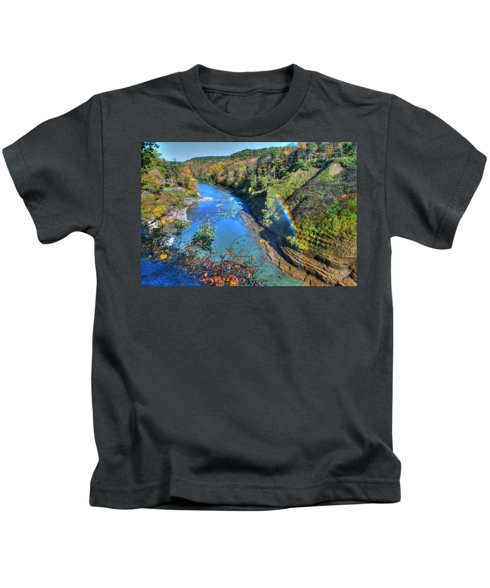 Kids T-Shirt featuring the photograph Rainbow On A Beautiful Oct Day by Michael Frank Jr