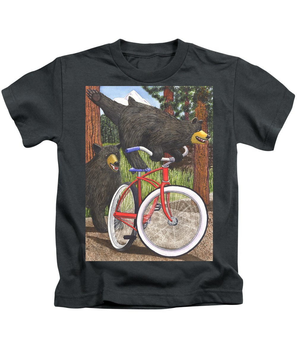Bicycle Kids T-Shirt featuring the painting Red Bike by Catherine G McElroy