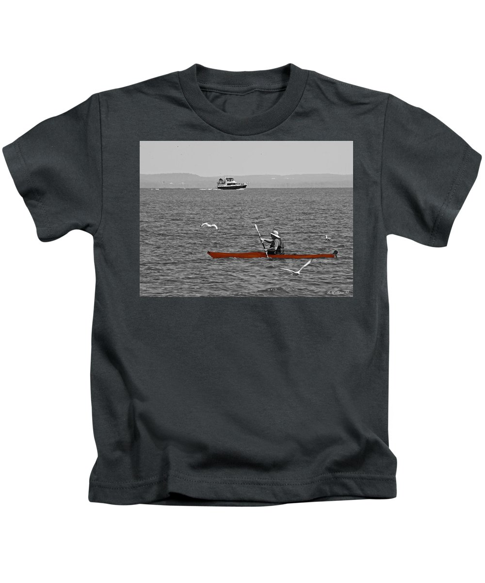 2d Kids T-Shirt featuring the photograph Red Canoe by Brian Wallace