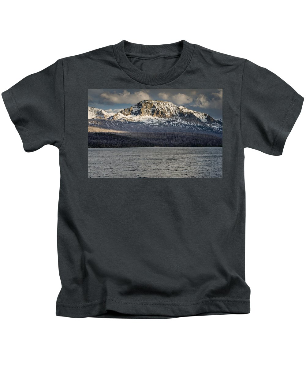 Glacier National Park Kids T-Shirt featuring the photograph Red Eagle Mountain Evening by Greg Nyquist