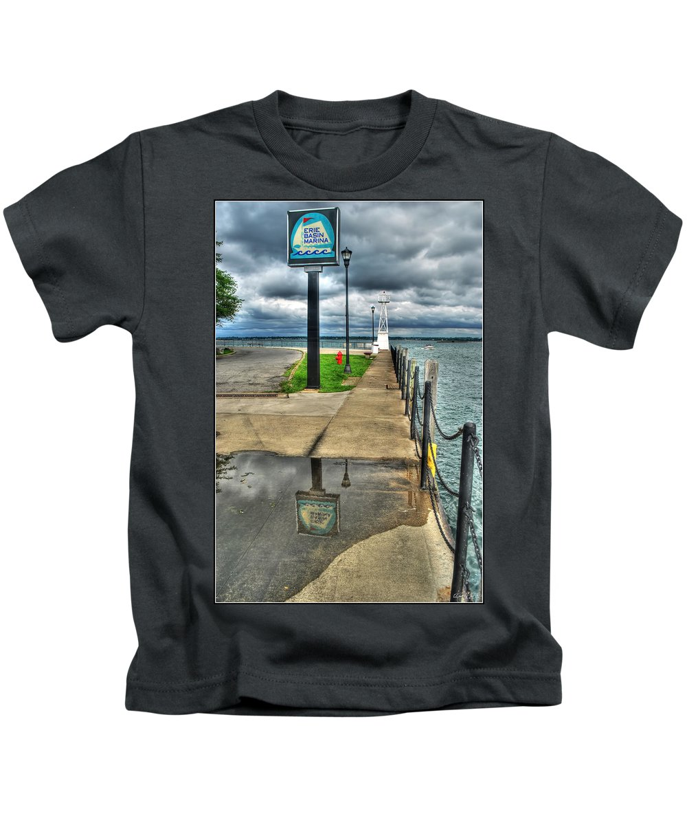 Kids T-Shirt featuring the photograph Reflecting At The Erie Basin Marina by Michael Frank Jr