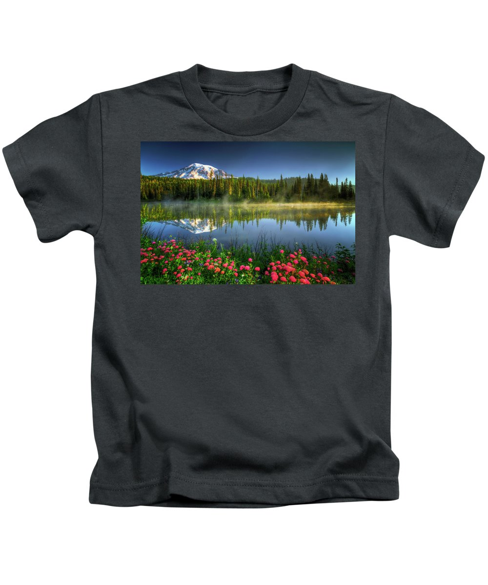 Landscape Kids T-Shirt featuring the photograph Reflection Lakes by William Freebillyphotography