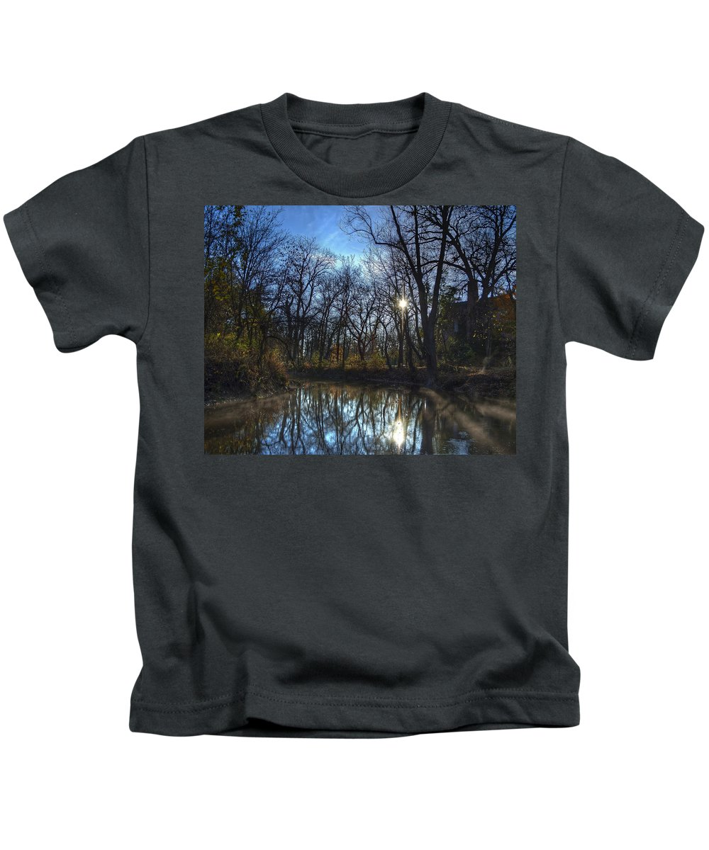 Bridge Kids T-Shirt featuring the photograph Rising On The River by Scott Wood