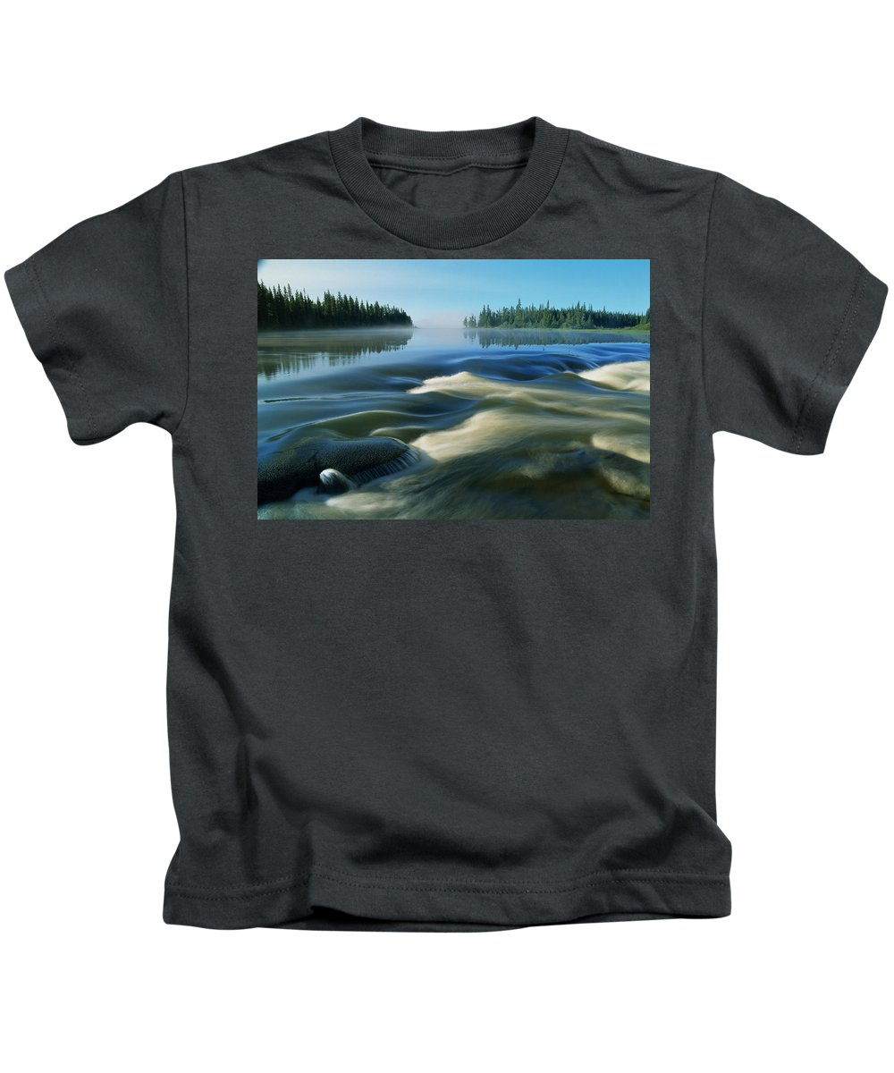 Close Shots Kids T-Shirt featuring the photograph River Rapids by Dave Reede
