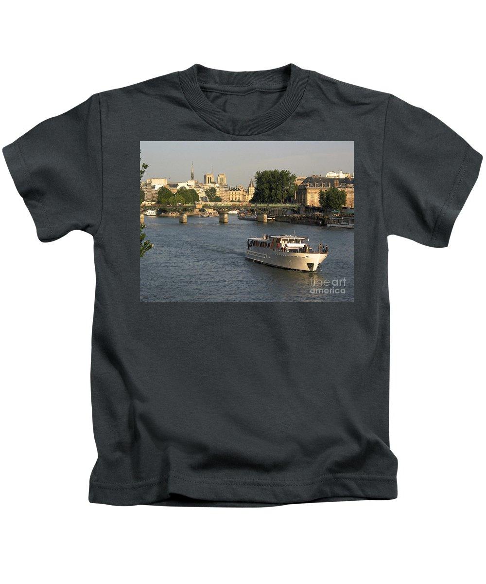 Aged Kids T-Shirt featuring the photograph River Seine In Paris by Bernard Jaubert