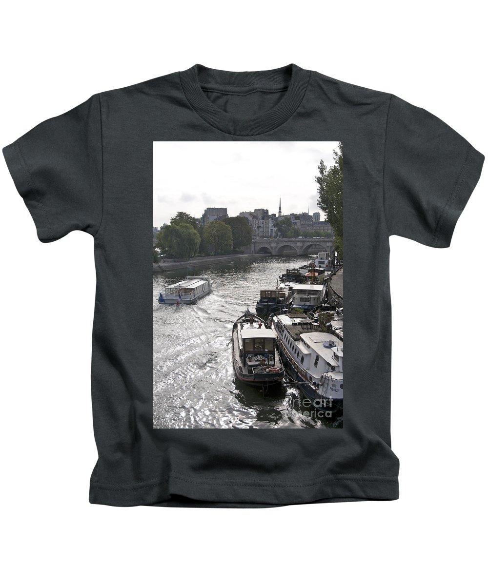 Paris Kids T-Shirt featuring the photograph River Seine. Paris by Bernard Jaubert
