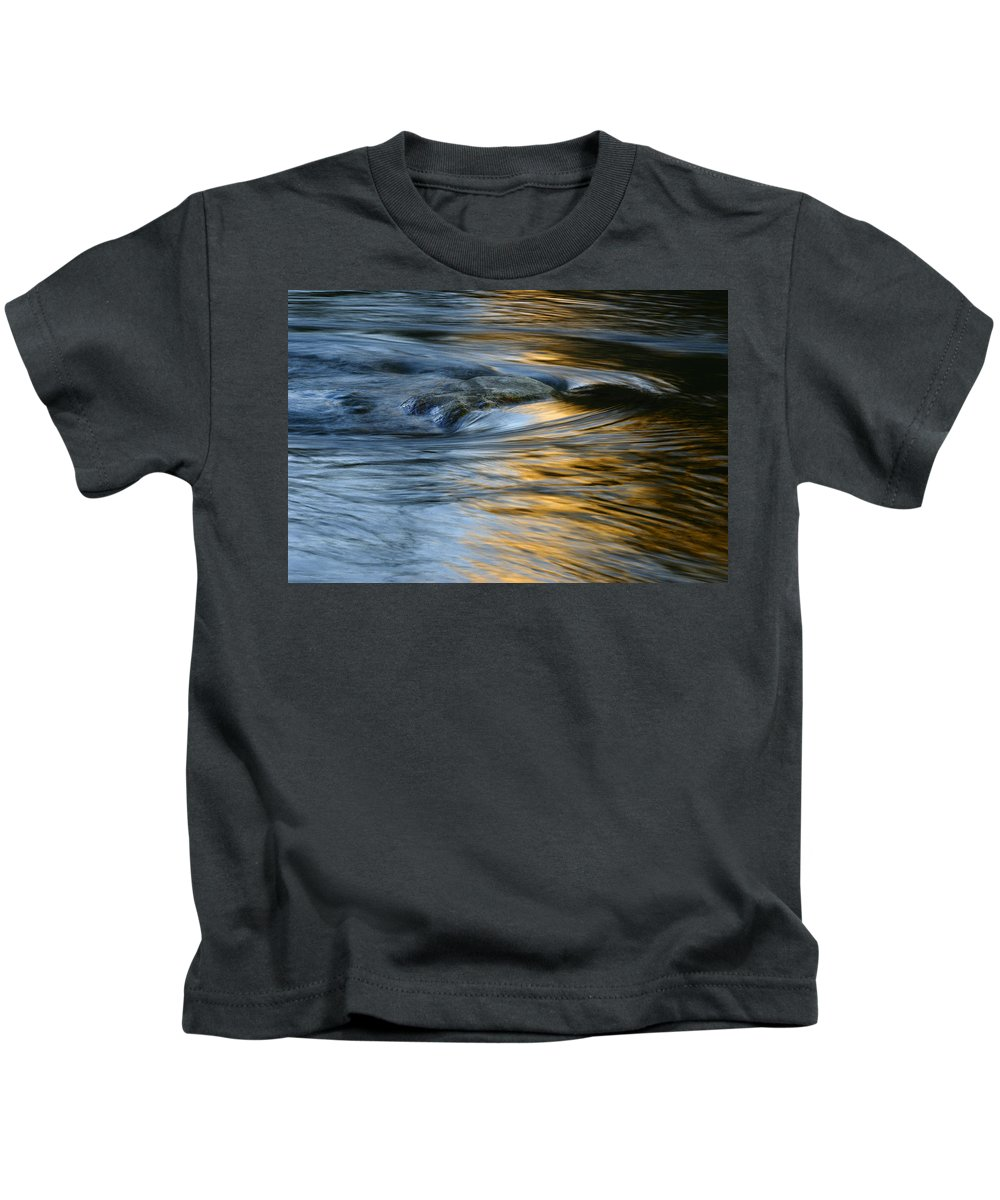 Water Kids T-Shirt featuring the photograph Rock And Blue Gold Water by Rich Franco