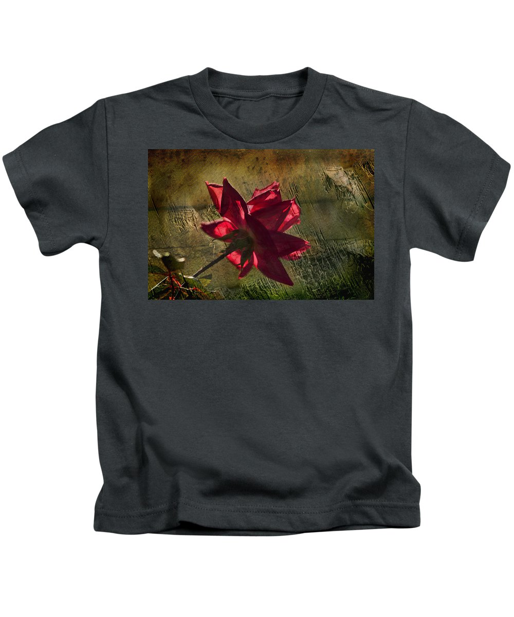 Rose Kids T-Shirt featuring the photograph Roses Are Red With A Bit Of Grunge by Kathy Clark