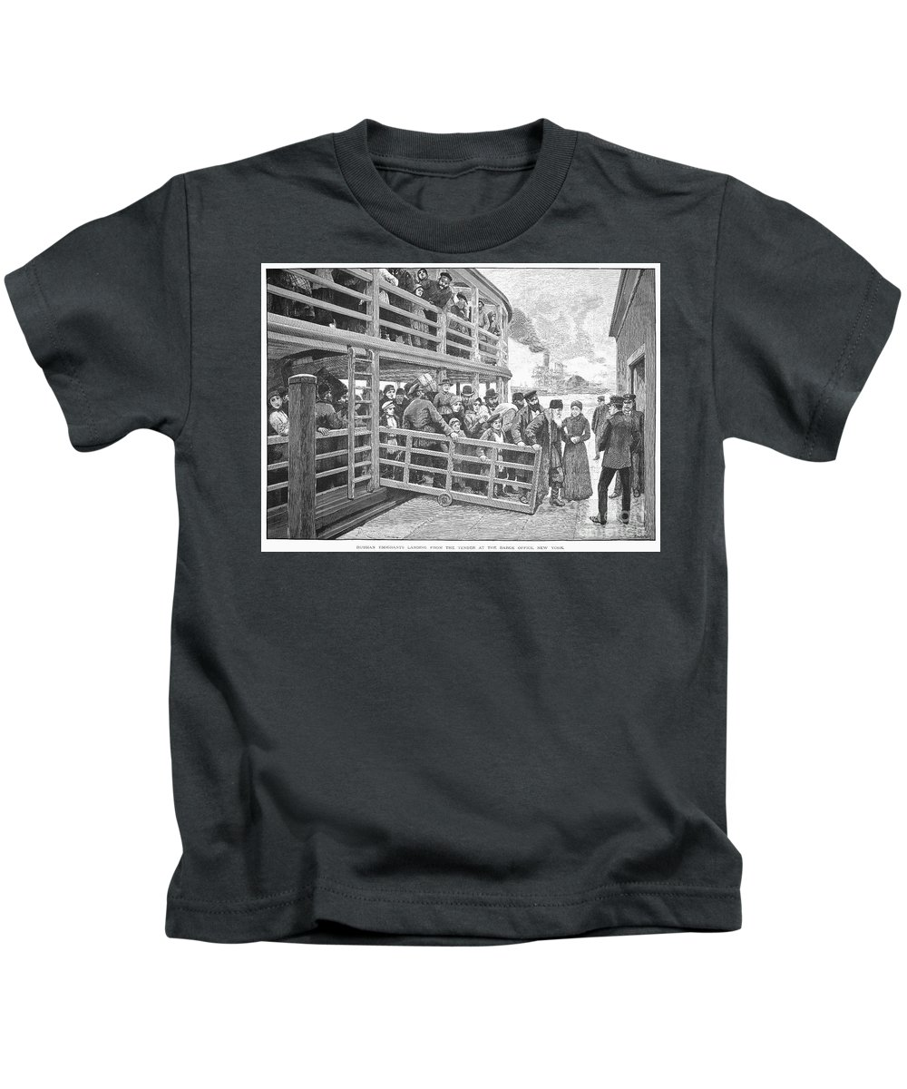 1892 Kids T-Shirt featuring the photograph Russian Immigrants, 1892 by Granger