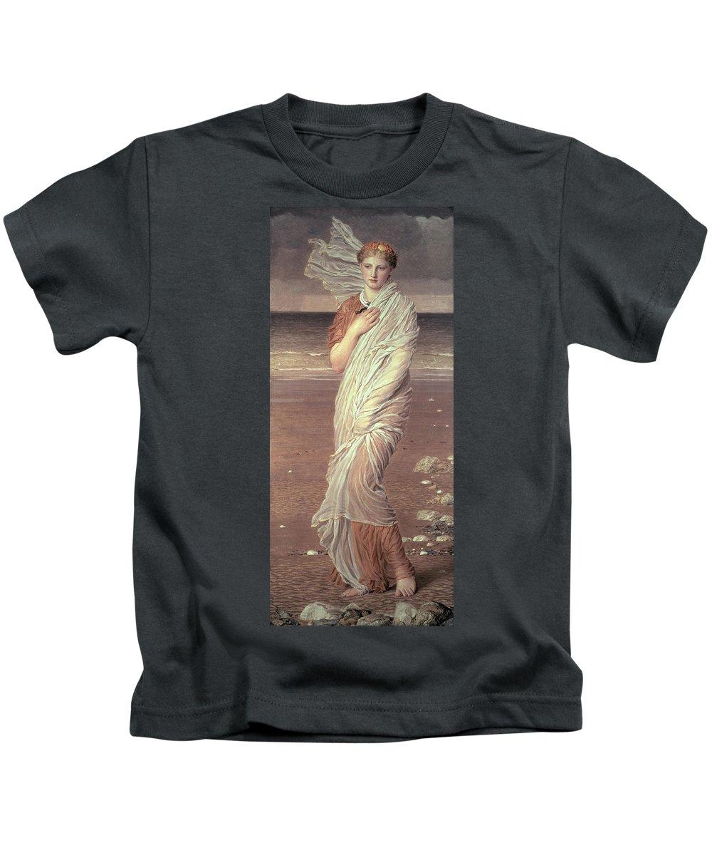 Shells By Albert Joseph Moore (1841-93) Beach; Portrait; Female; Victorian; Female Kids T-Shirt featuring the painting Shells by Albert Joseph Moore