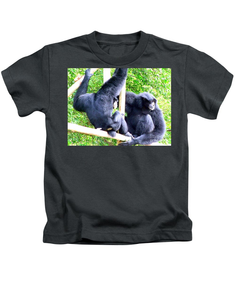Monkeys Kids T-Shirt featuring the photograph Siamang Gibbons by Mary Deal