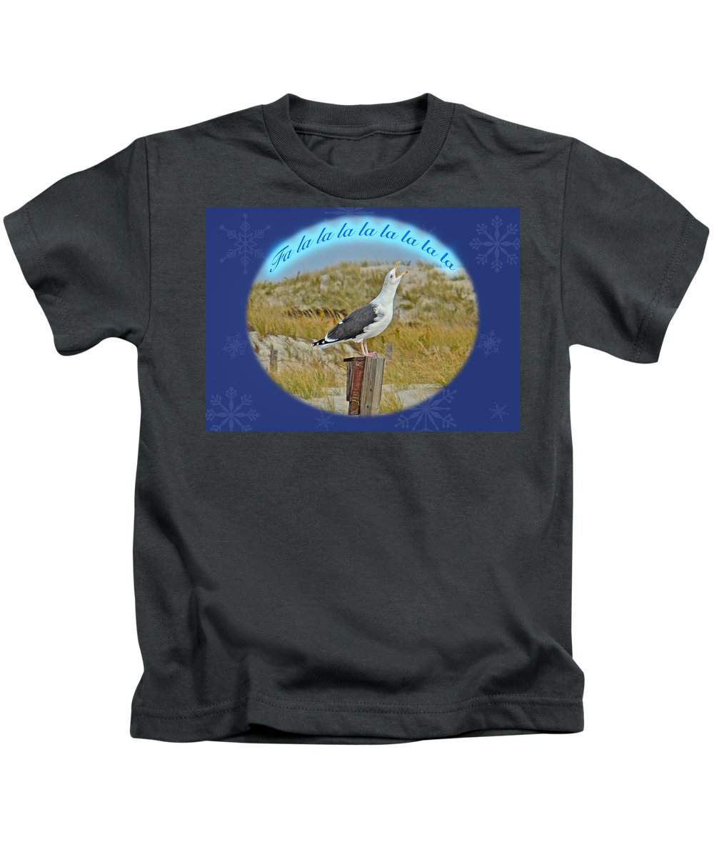 Christmas Kids T-Shirt featuring the photograph Singing Seagull Christmas Card by Mother Nature