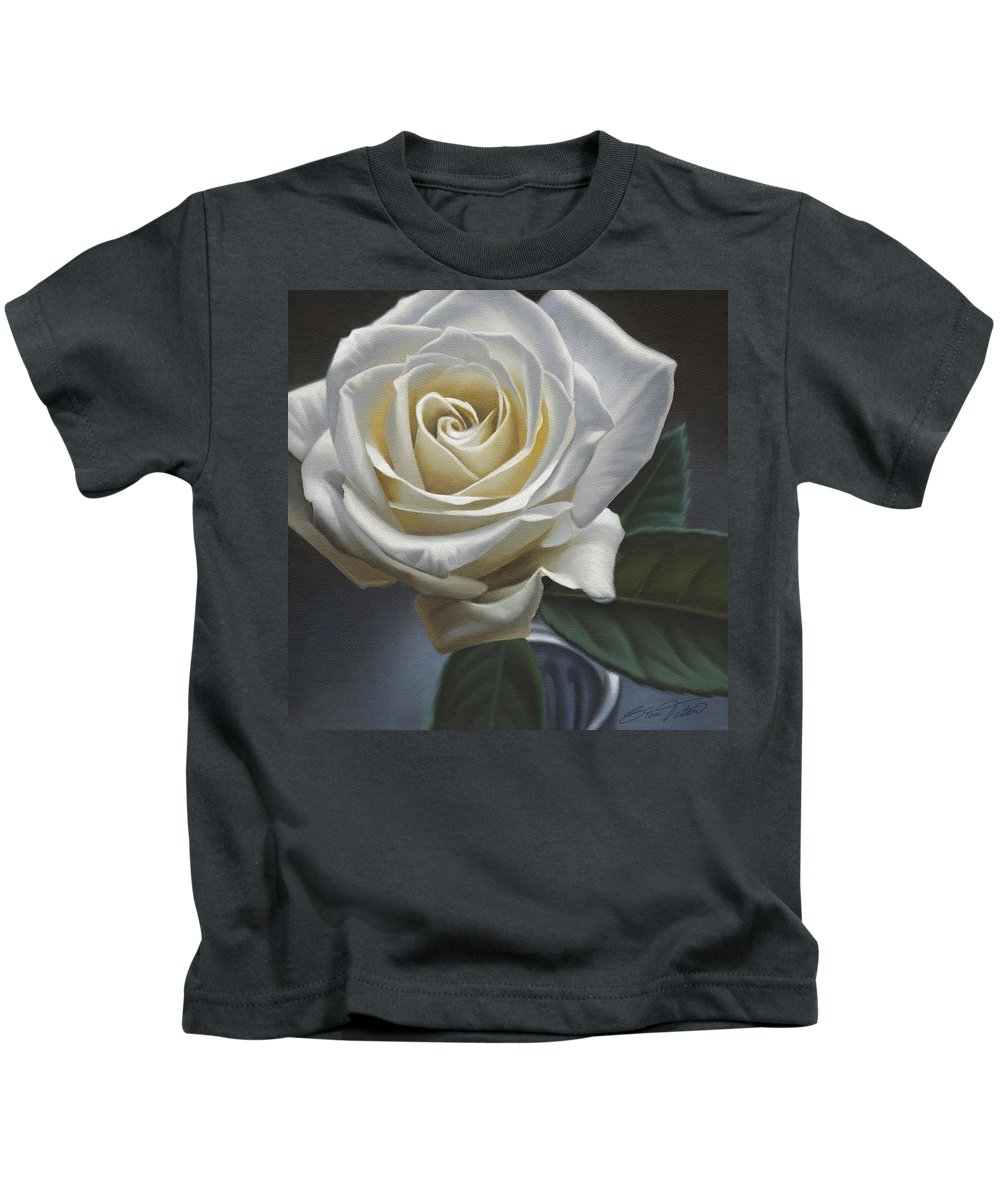 Rose Kids T-Shirt featuring the painting Single White Rose by Steven Tetlow
