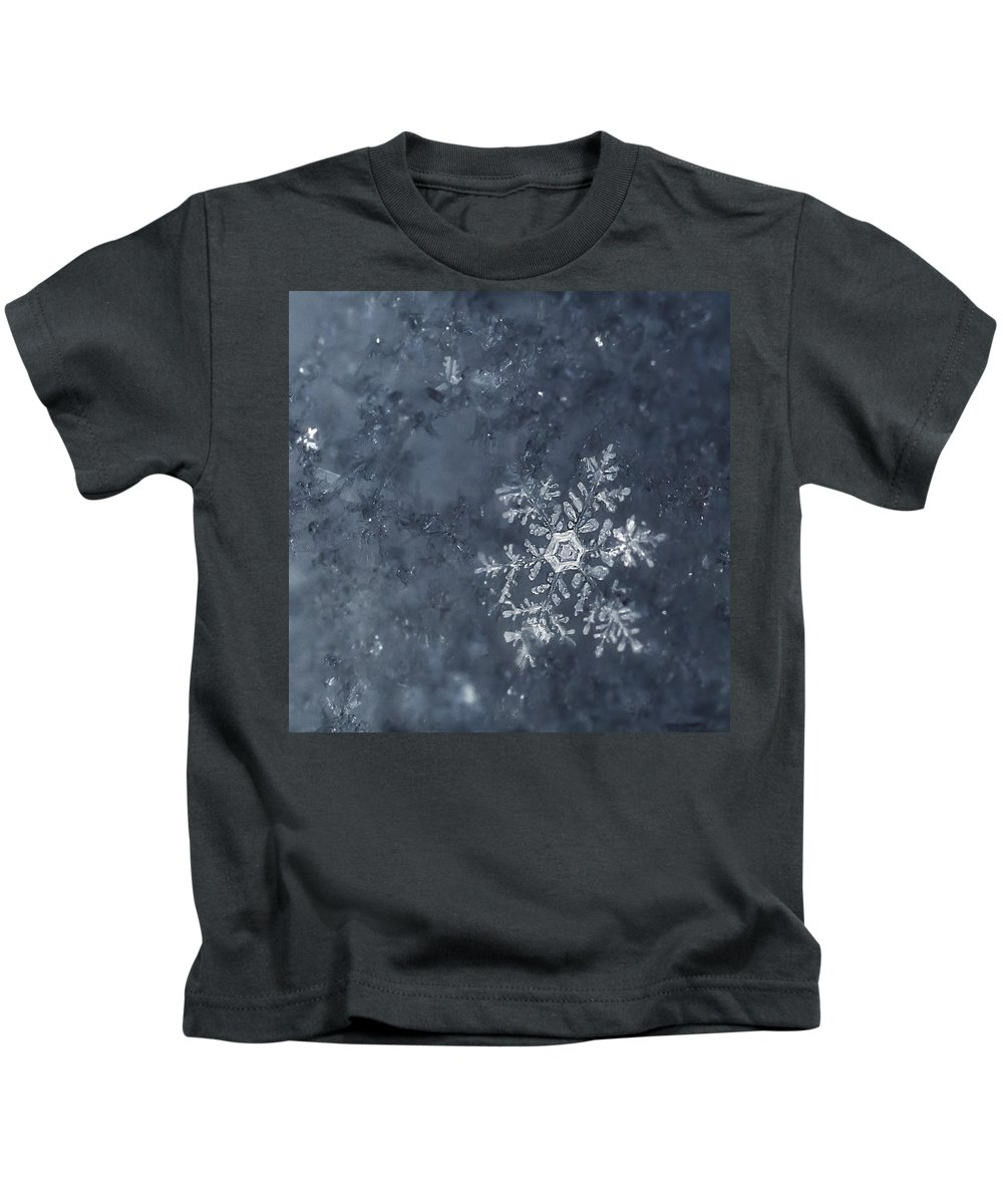 Snowflakes Kids T-Shirt featuring the photograph Snowflake In Blue by Beth Riser