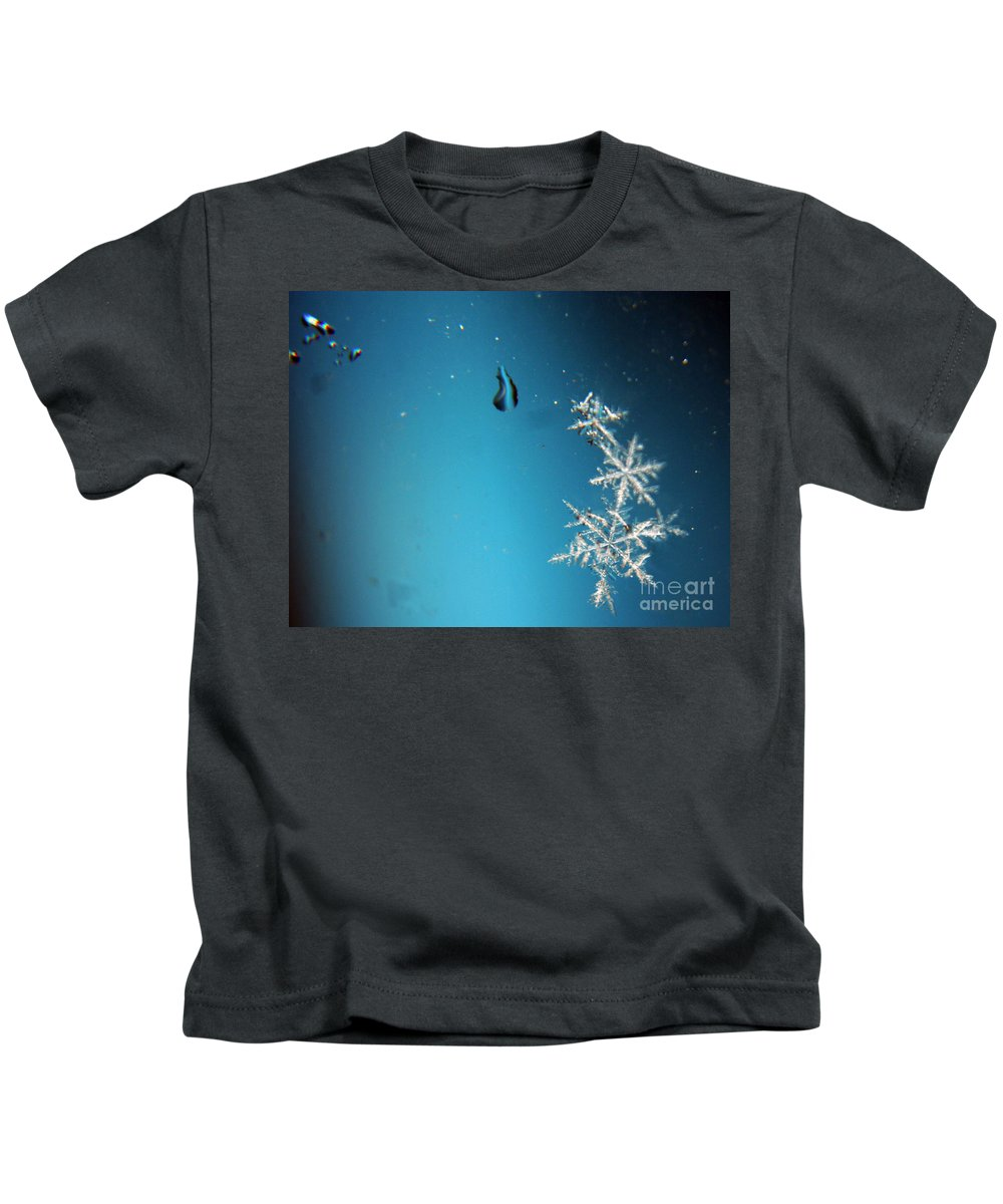 Snowflakes Kids T-Shirt featuring the photograph Snowflakes On My Window by Heather Applegate