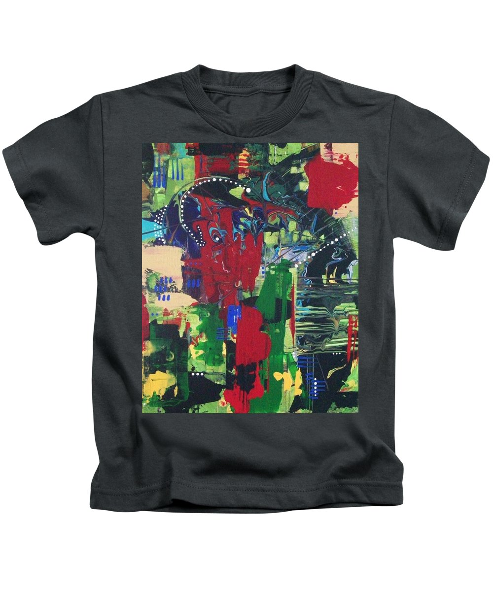 Abstract Kids T-Shirt featuring the painting Spirits Of The Forest by Charlotte Nunn