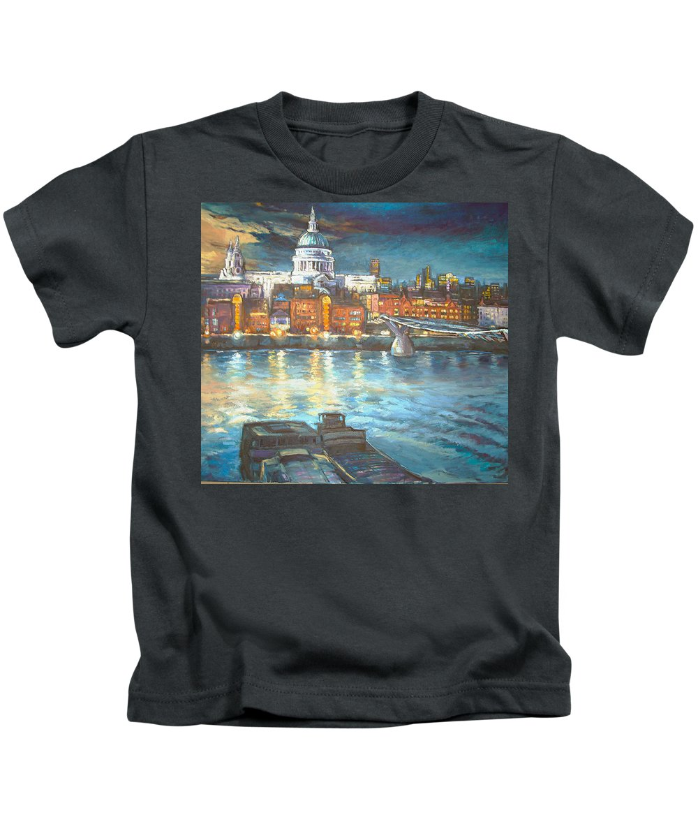 River View Of St Pauls Cathedral Kids T-Shirt featuring the painting St Pauls Cathedral With Millenium Bridge by Patricia Clements