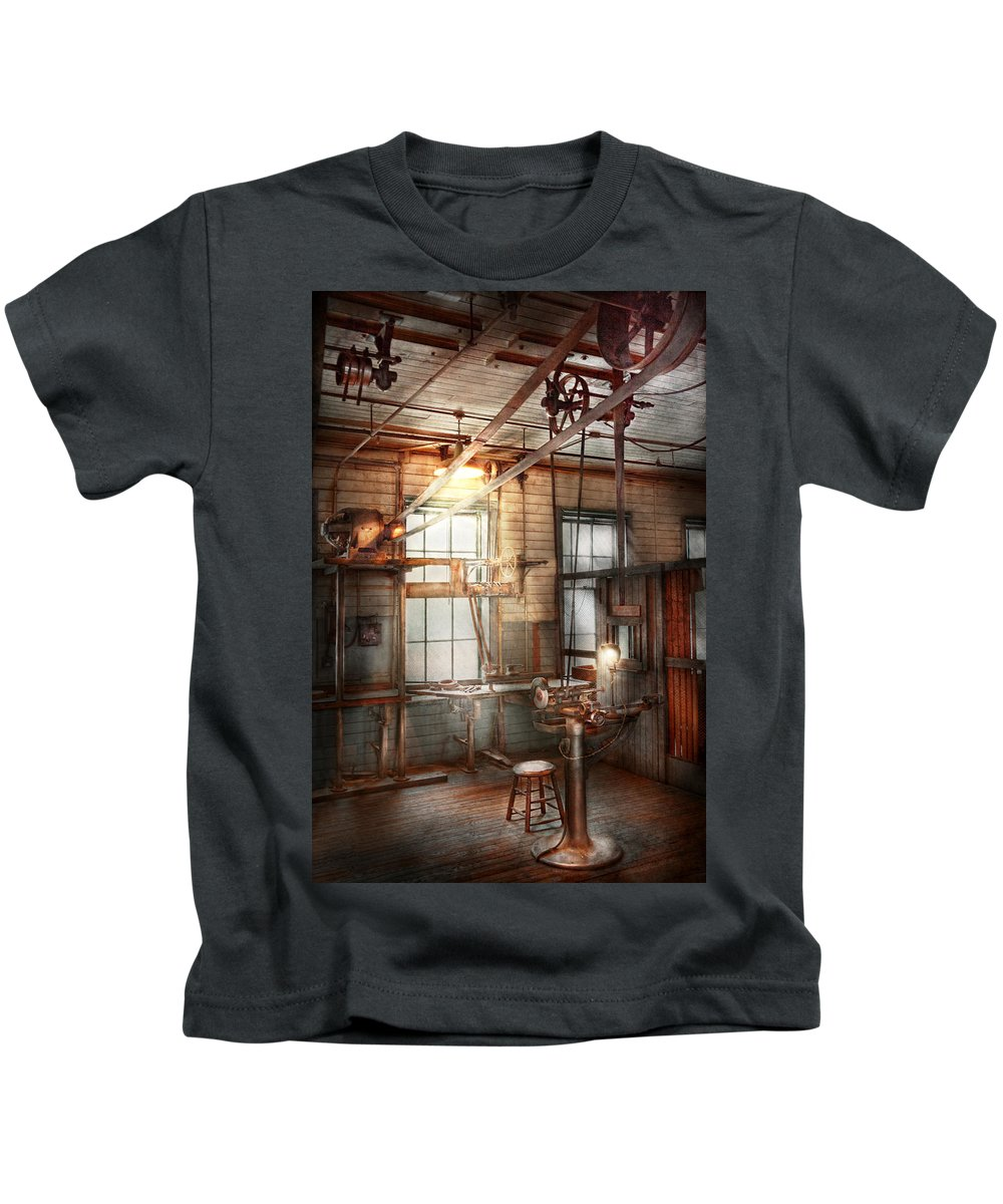 Steampunk Kids T-Shirt featuring the photograph Steampunk - Machinist - The Grinding Station by Mike Savad