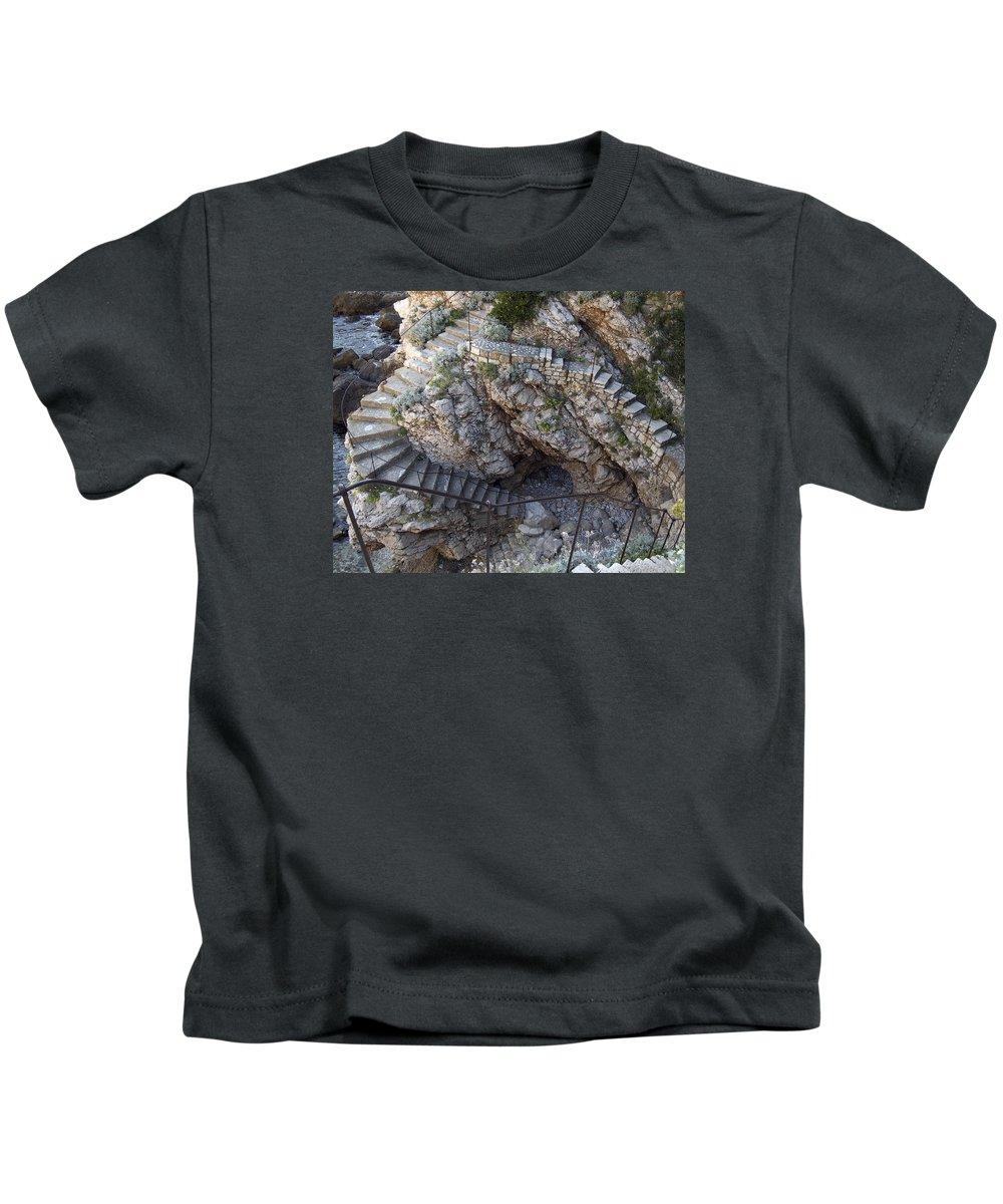 Stone Steps Kids T-Shirt featuring the photograph Stone Sea Steps by Dave Saltonstall