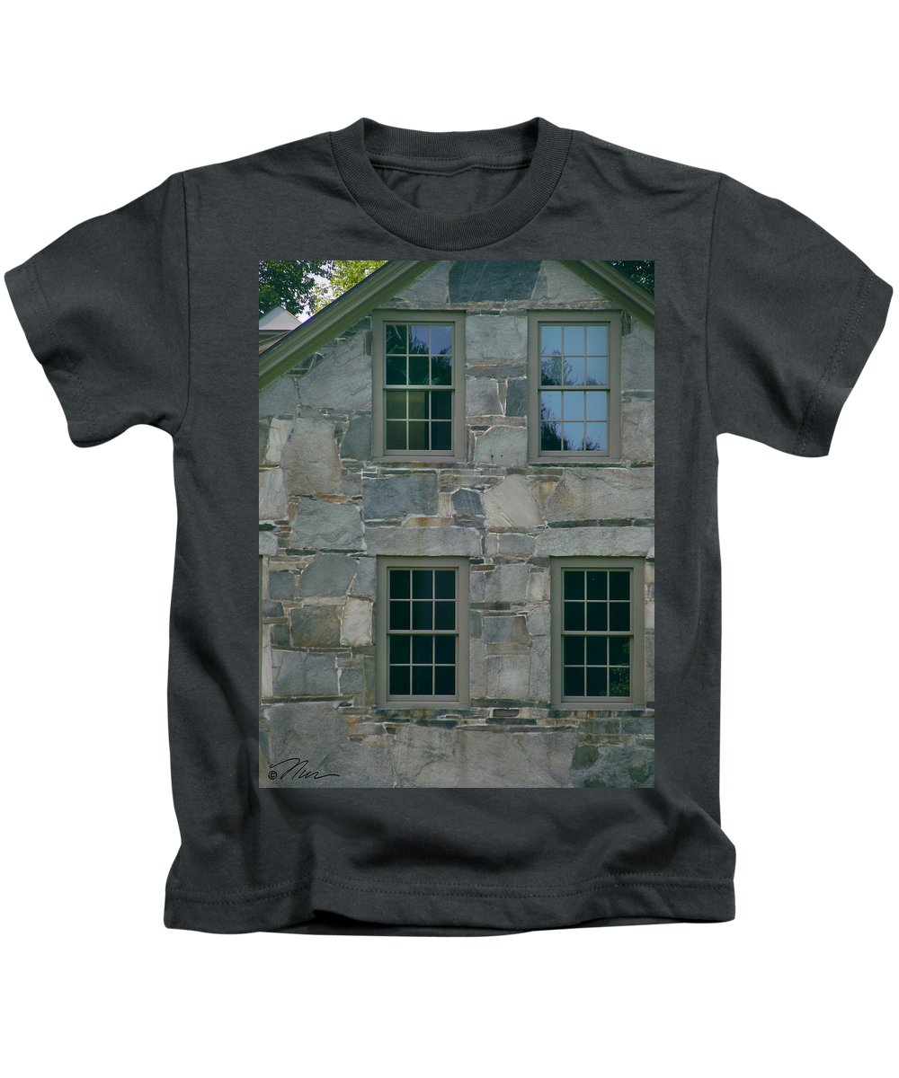 Stone_house Kids T-Shirt featuring the photograph Stonehouse Windows by Nancy Griswold