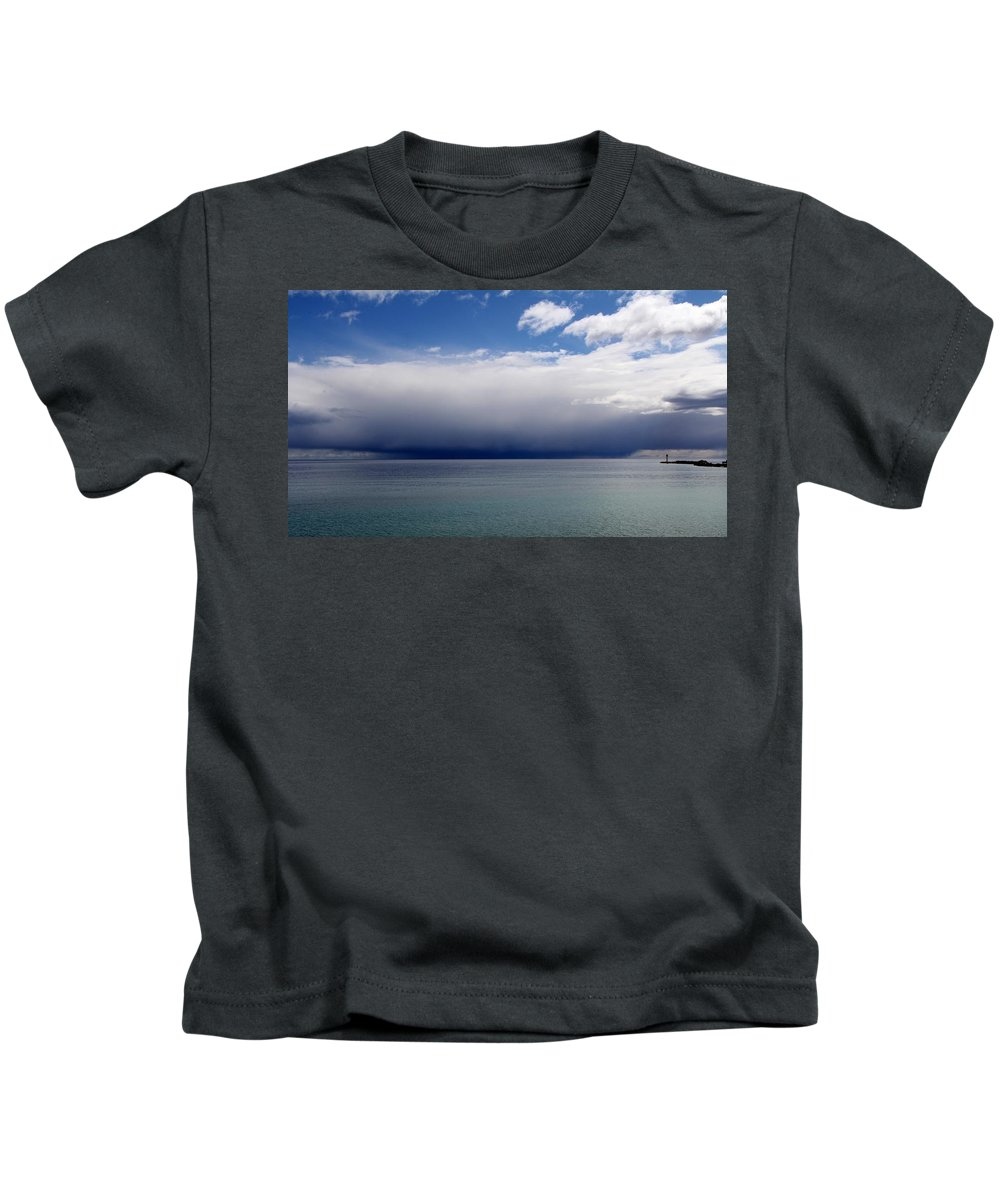 Lake Kids T-Shirt featuring the photograph Storm On The Horizon by Davandra Cribbie