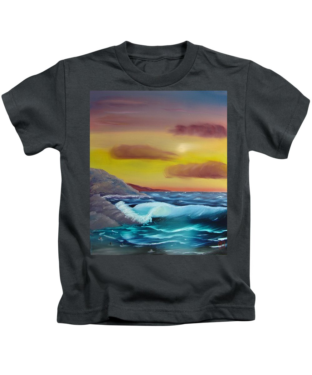 Painting Kids T-Shirt featuring the painting Stormy Beach by Charles and Melisa Morrison