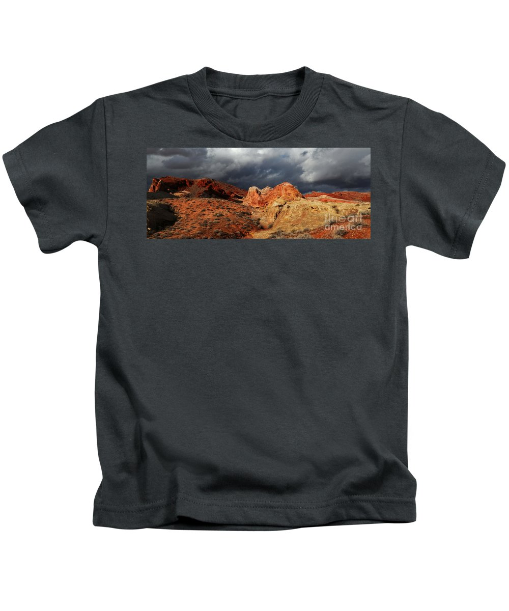 Valley Of Fire Kids T-Shirt featuring the photograph Stormy Skies Over Valley Of Fire by Vivian Christopher