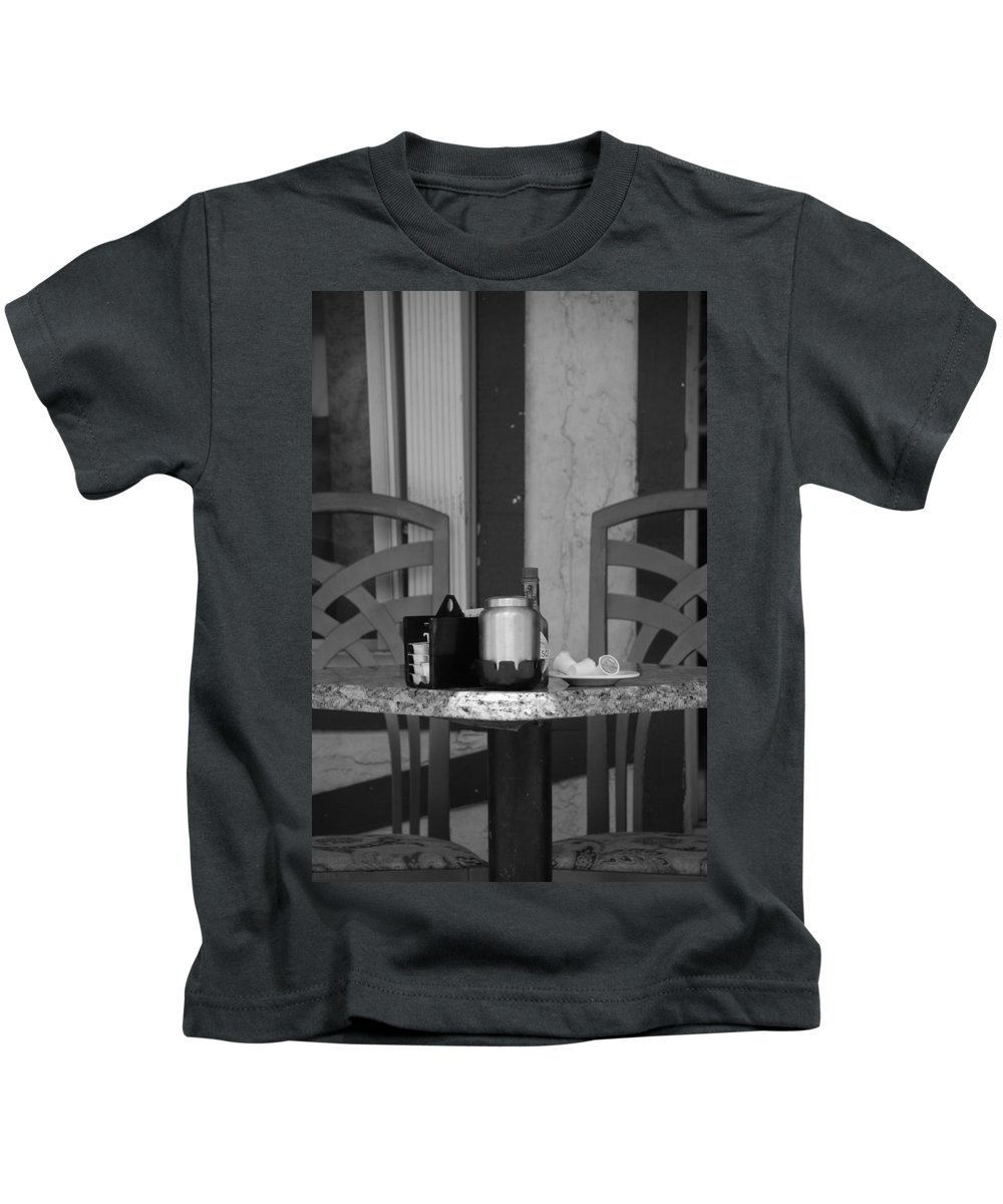 Chairs Kids T-Shirt featuring the photograph Street Scene by Rob Hans