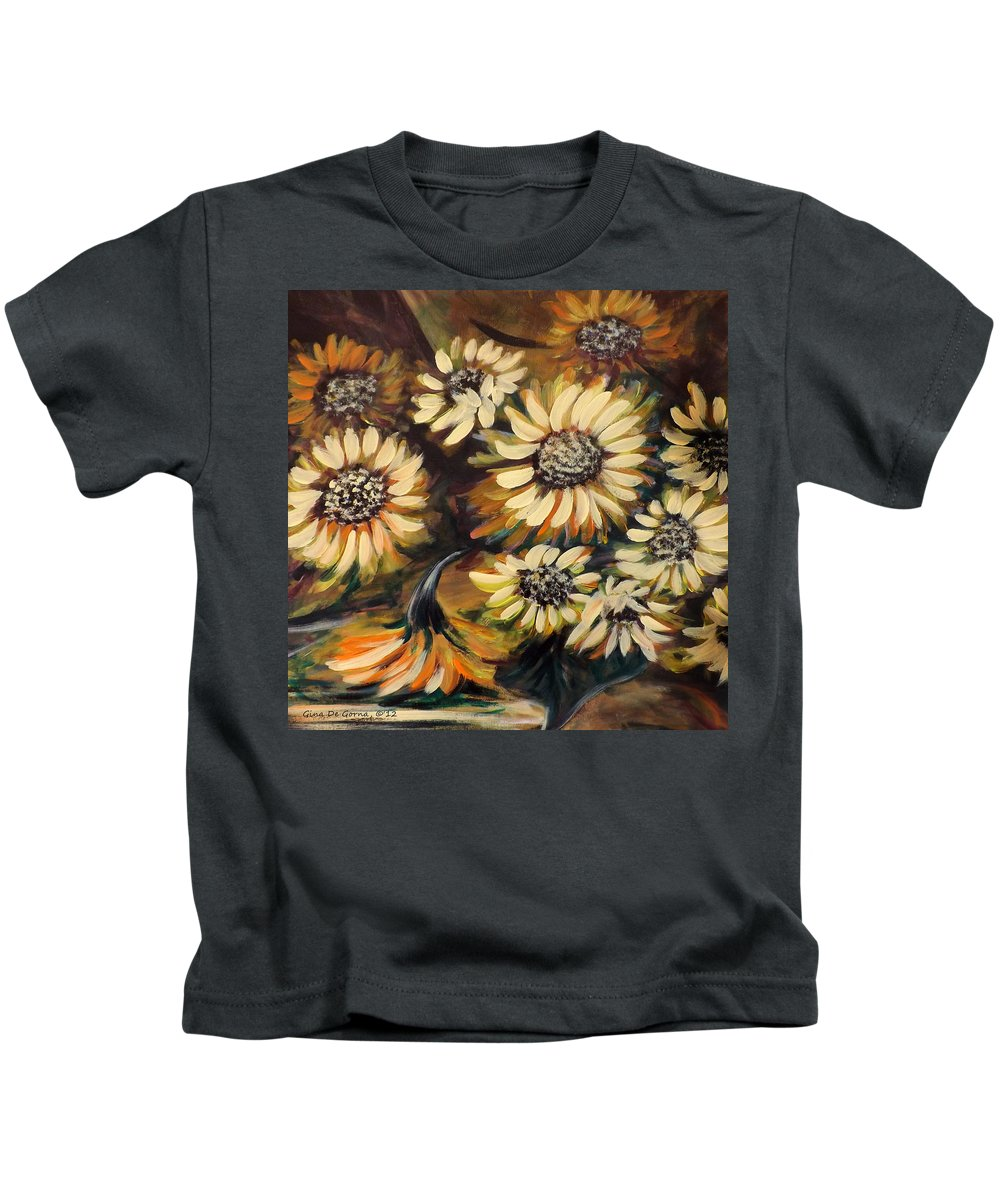 Flower Kids T-Shirt featuring the painting Sunflowers 12 Square Painting by Gina De Gorna