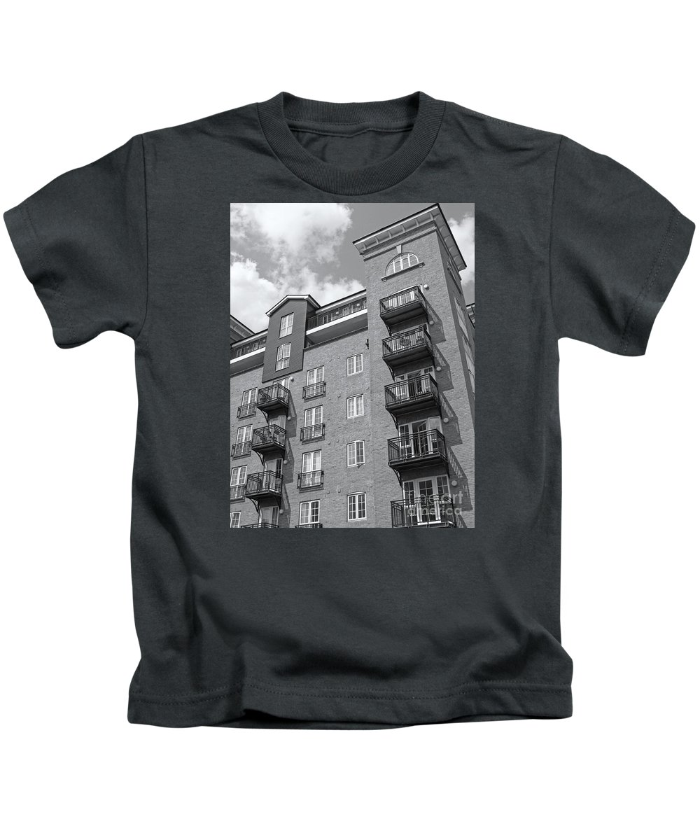 High Rise Kids T-Shirt featuring the photograph Sunny Black And White Day by Ann Horn