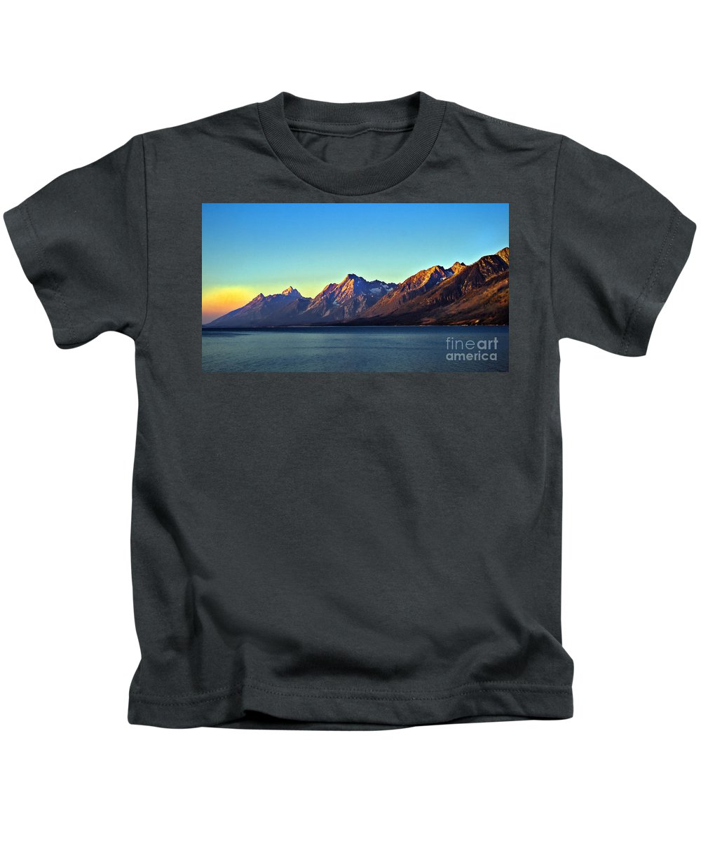 Lake Kids T-Shirt featuring the photograph Sunrise Over Jackson Lake by Robert Bales