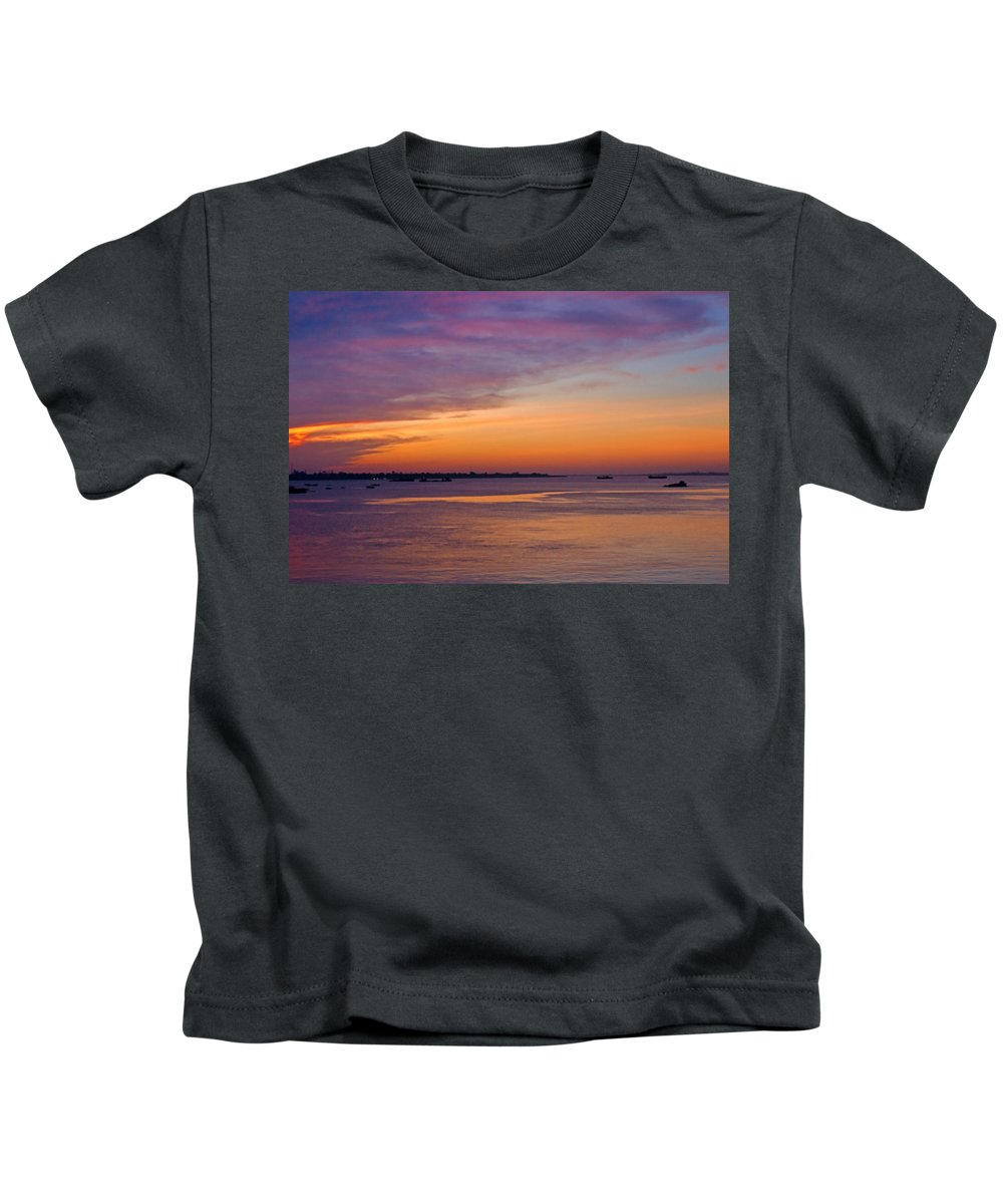 Asia Kids T-Shirt featuring the photograph Sunrise Over The Mekong. by David Freuthal