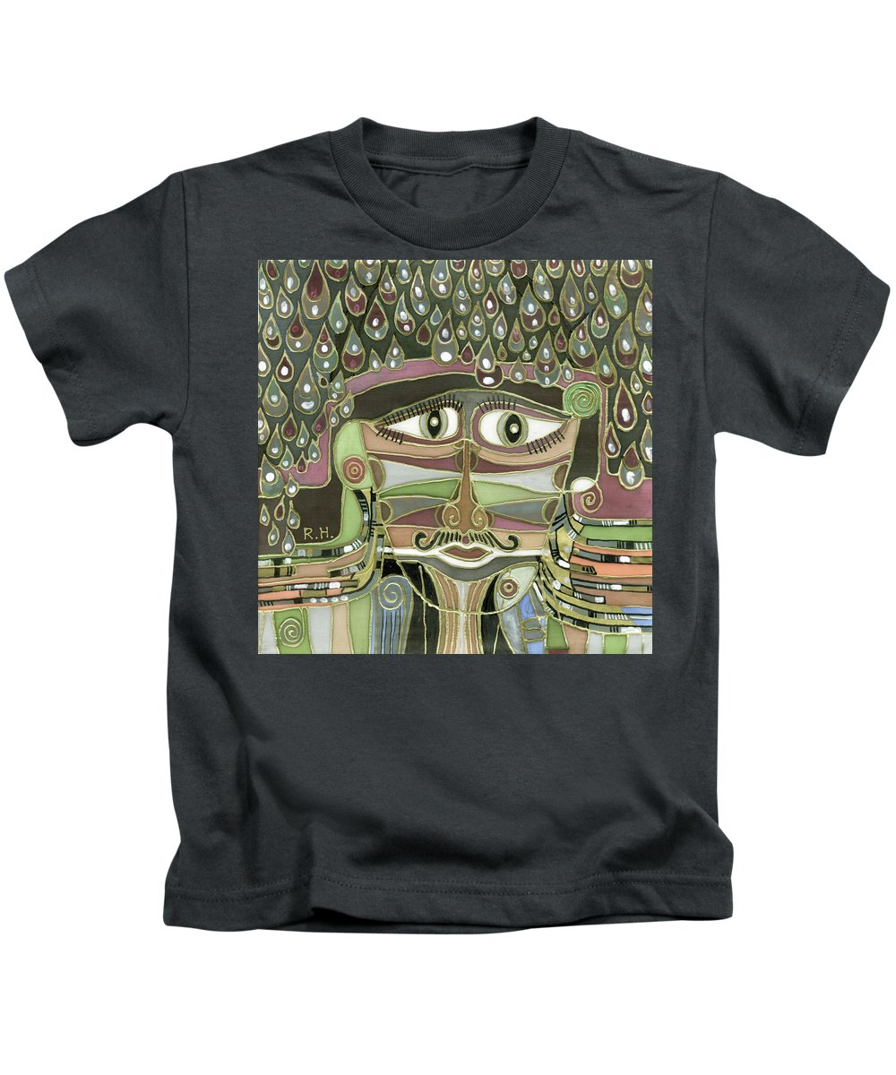 Surprize Kids T-Shirt featuring the painting Surprize Drops Surrealistic Green Brown Face With Liquid Drops Large Eyes Mustache by Rachel Hershkovitz