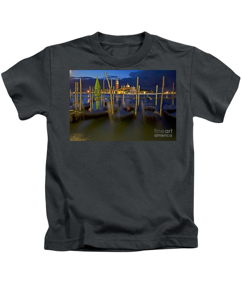 Venice Kids T-Shirt featuring the photograph Swaying Gondolas by Heiko Koehrer-Wagner