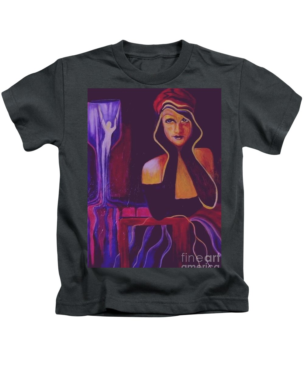 Women Kids T-Shirt featuring the painting A Selfish Girl by Carolyn LeGrand