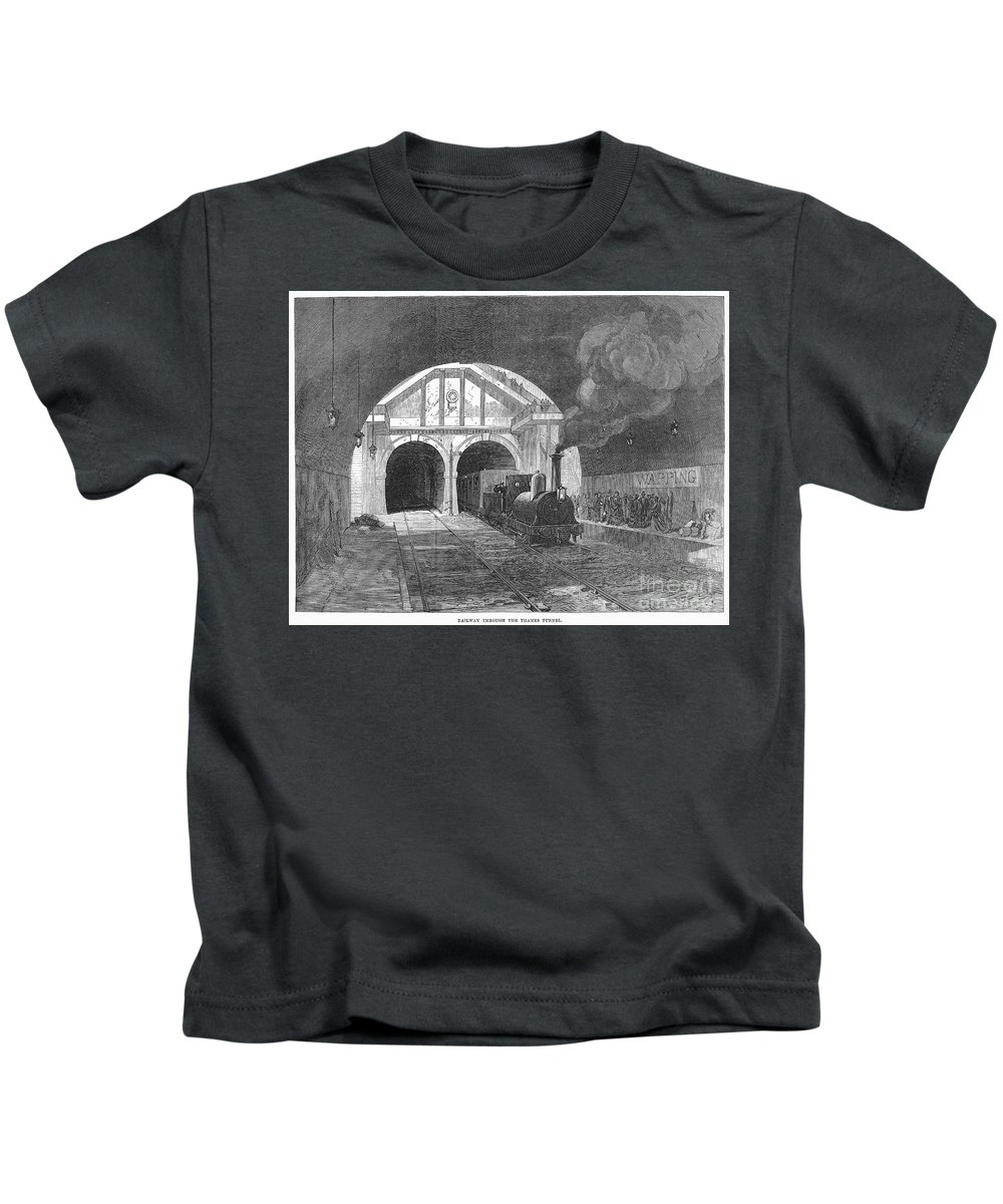 1869 Kids T-Shirt featuring the photograph Thames Tunnel: Train, 1869 by Granger