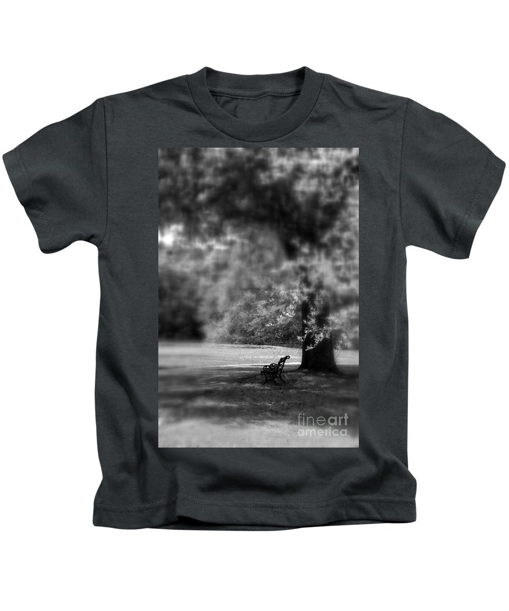 Bench Kids T-Shirt featuring the photograph The Bench In The Park by Susanne Van Hulst