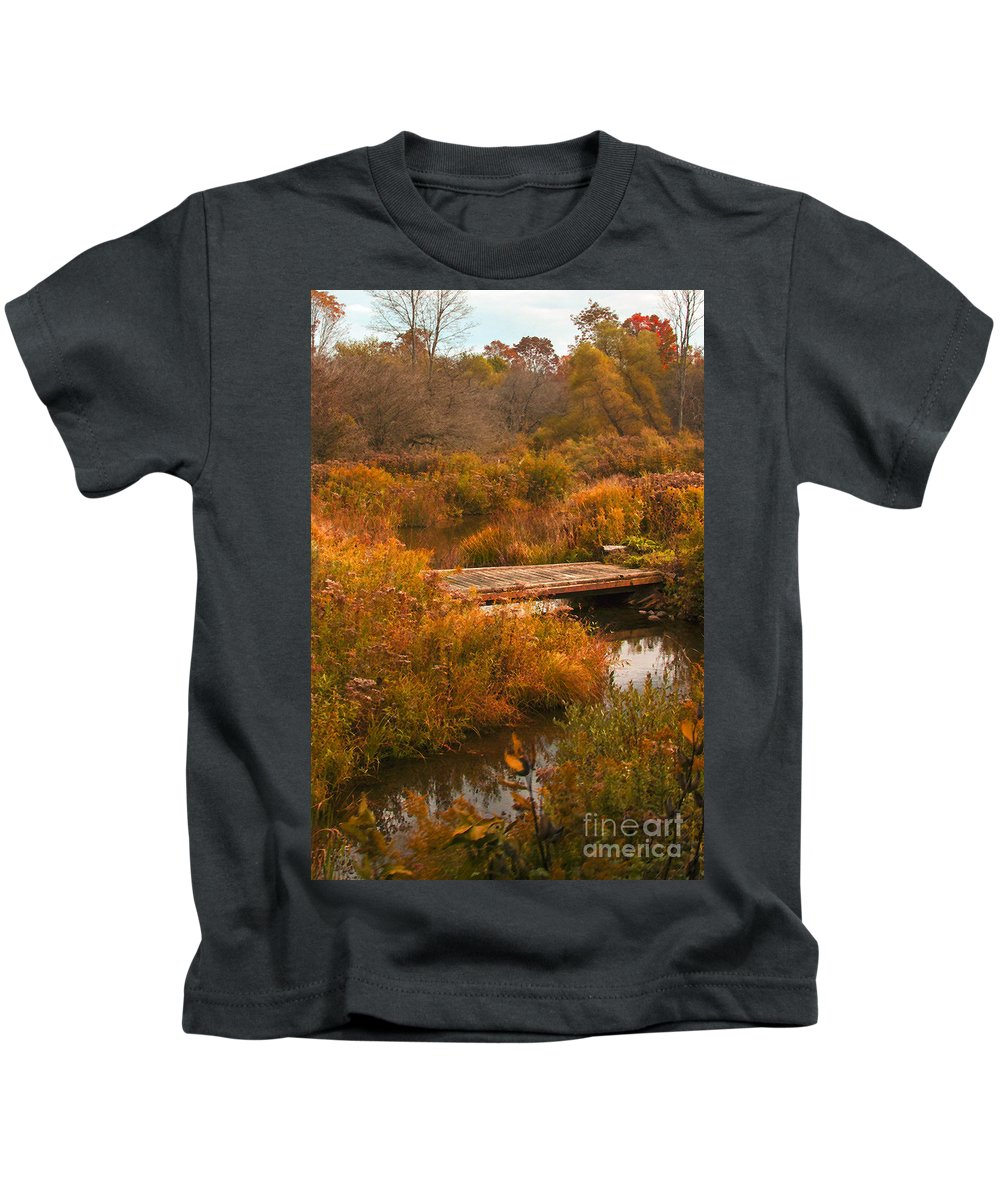 Bridge Kids T-Shirt featuring the photograph The bridge to nowhere by Darleen Stry