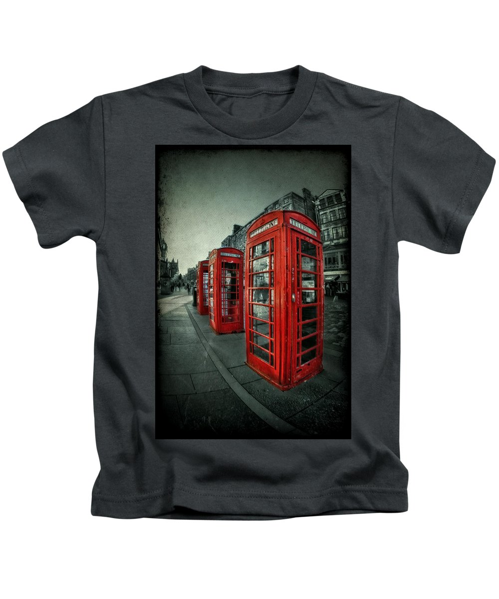 Phone Kids T-Shirt featuring the photograph The Call Of Yesteryear by Evelina Kremsdorf