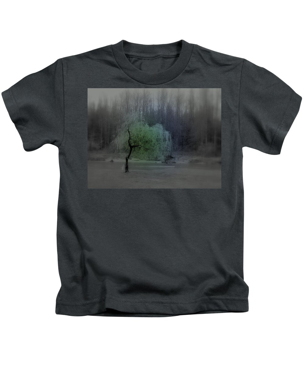 Tree Kids T-Shirt featuring the photograph The Circle Green - Tree By The River by Kathleen Grace