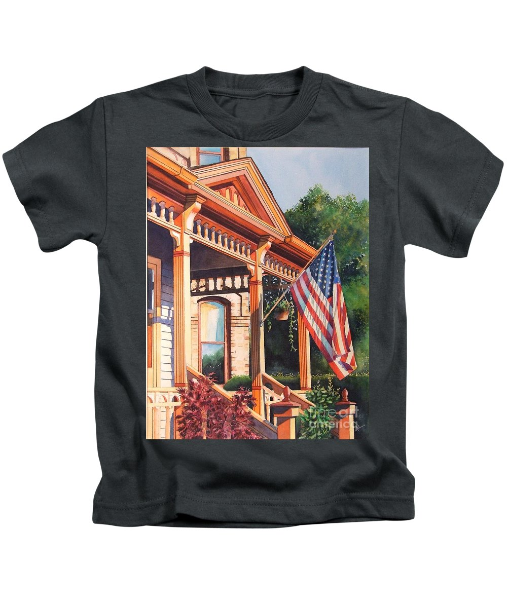 Historic Home Kids T-Shirt featuring the painting The Founders Home by Greg and Linda Halom