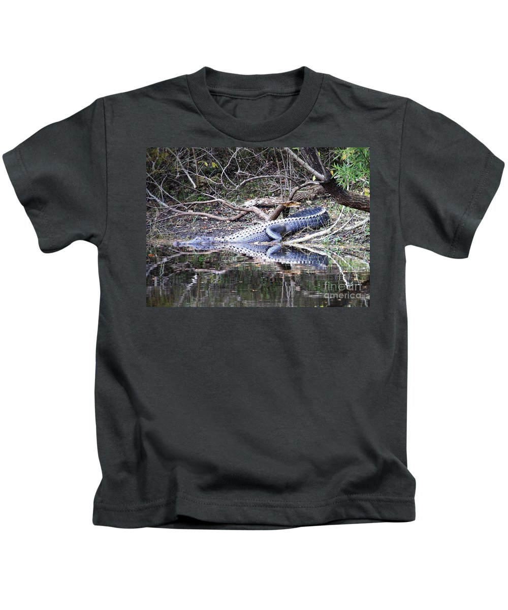 Gator Kids T-Shirt featuring the photograph The Gator That Lives Under The Bridge by Carol Groenen