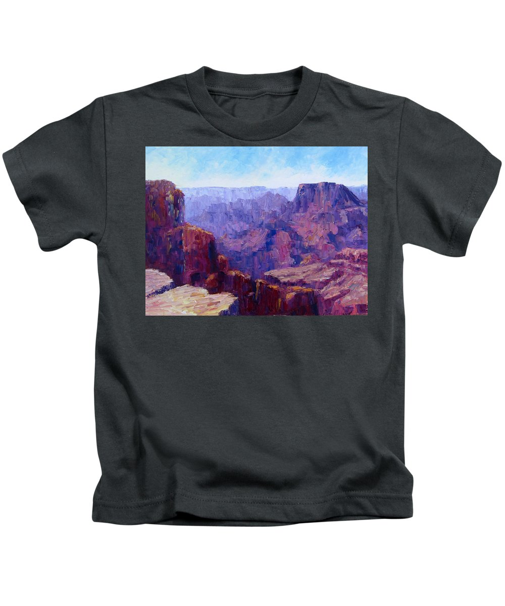 Grand Canyon Kids T-Shirt featuring the painting The Ledge by Terry Chacon