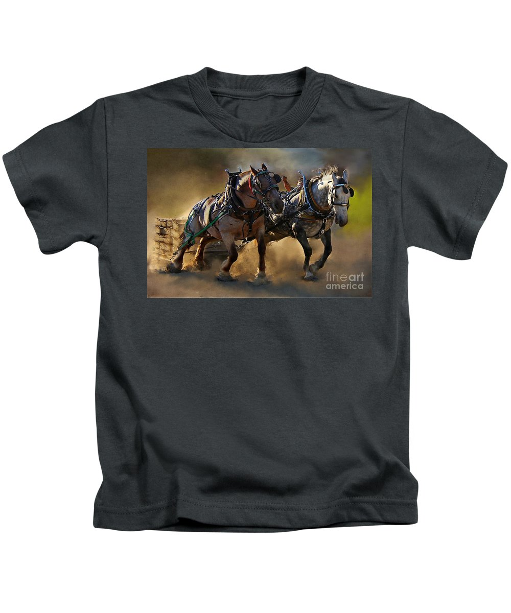 Horse Kids T-Shirt featuring the photograph The Power Of Two by Davandra Cribbie