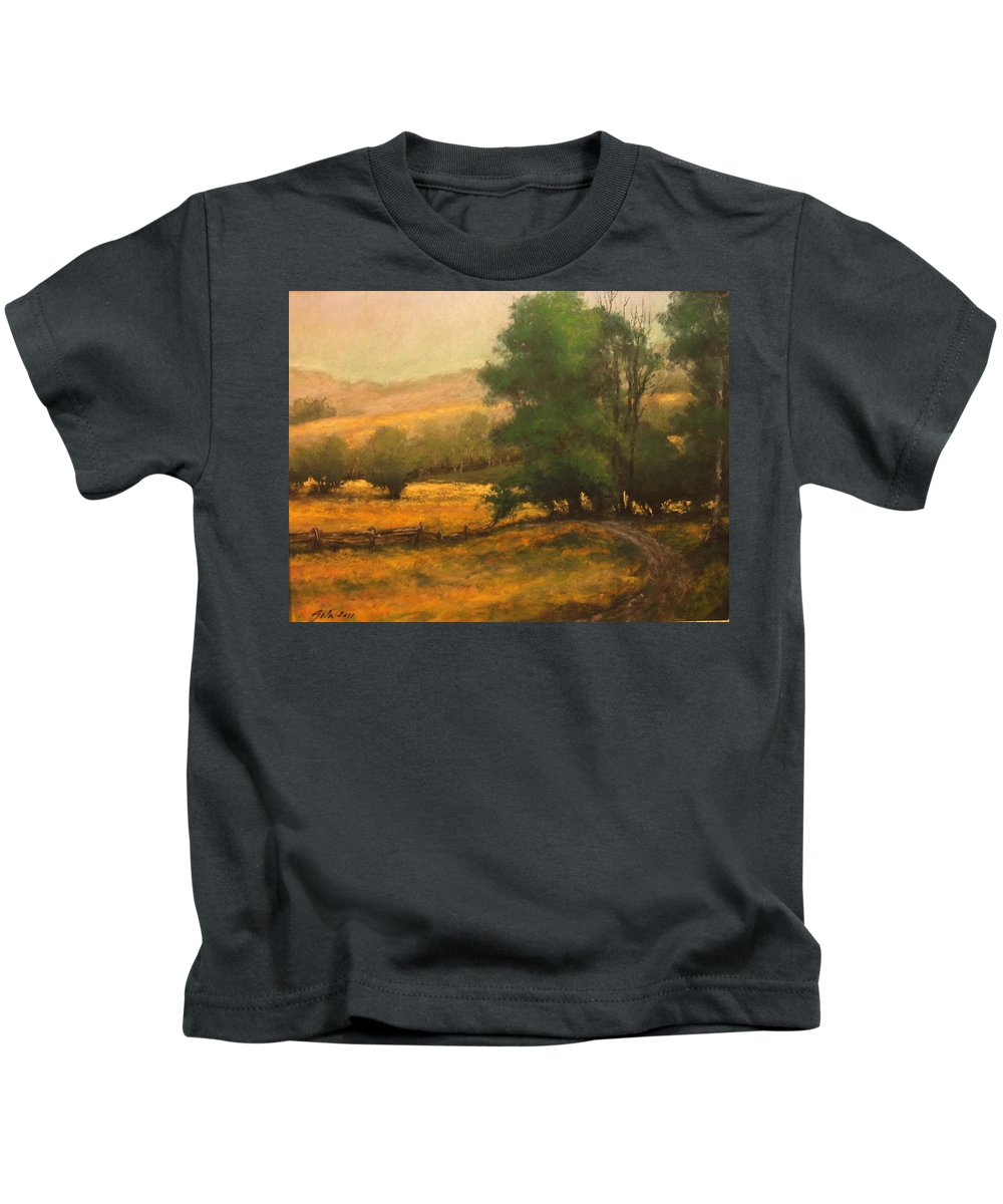 Painting Kids T-Shirt featuring the painting The Road Less Traveled by Jim Gola