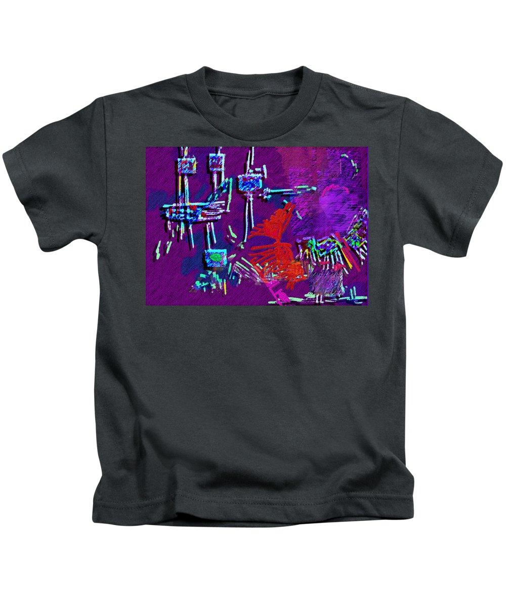 Sewing Kids T-Shirt featuring the digital art Threads by Mathilde Vhargon