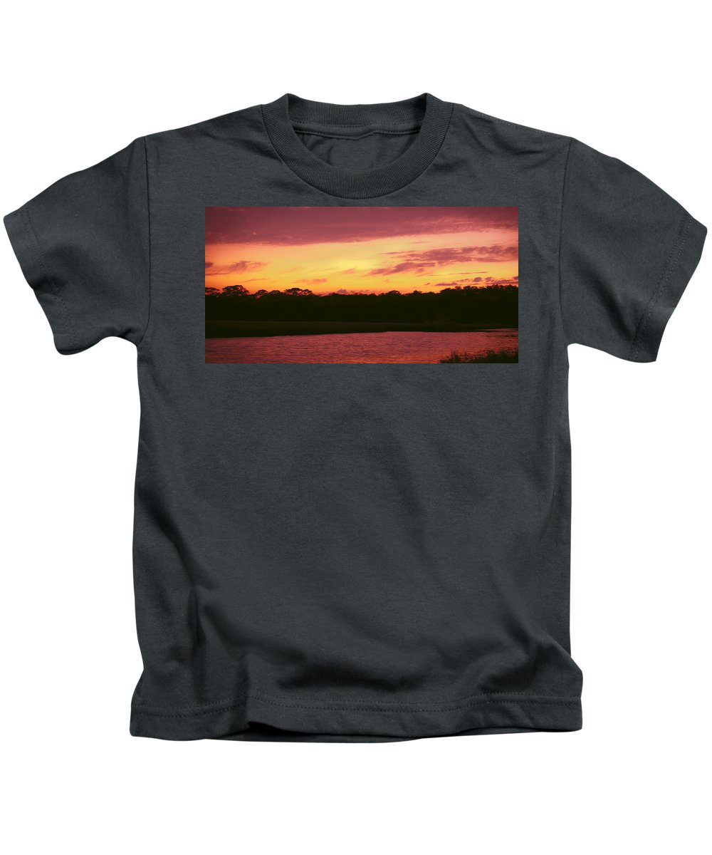 Tomoka River Kids T-Shirt featuring the photograph Tomoka River Sunset by DigiArt Diaries by Vicky B Fuller